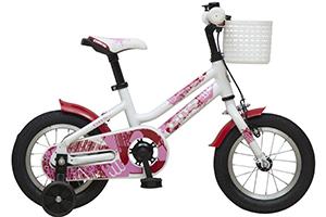 Bilde av en av våre barnesykler med støttehjul og hjul på 12 tommer som er spesielt utformet for å lære de minste å sykle.