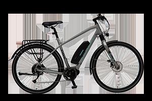 Bilde av en av våre elektriske hybridsykler, utstyrt med Shimano-gir, solide bremser, skjermer, lås og lys foran og bak.